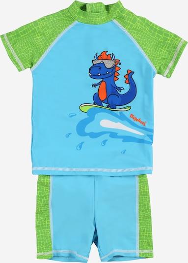 Costume intero 'DINO' PLAYSHOES di colore blu cielo / blu chiaro / verde / rosso, Visualizzazione prodotti