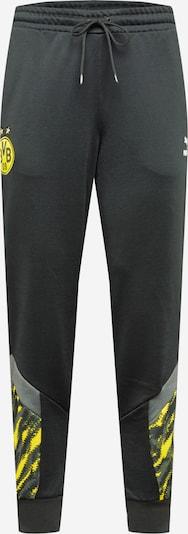 PUMA Sporta bikses dzeltens / tumši pelēks / melns, Preces skats