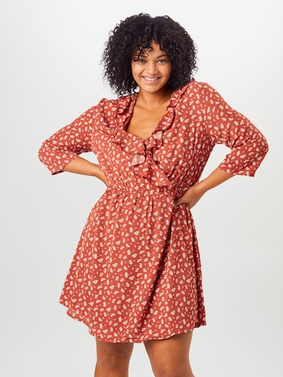 ABOUT YOU Curvy Kleid 'Theres' in orangerot / weiß, Modelansicht