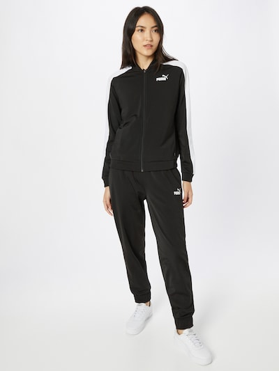 PUMA Sports Suit in Black / White: Frontal view