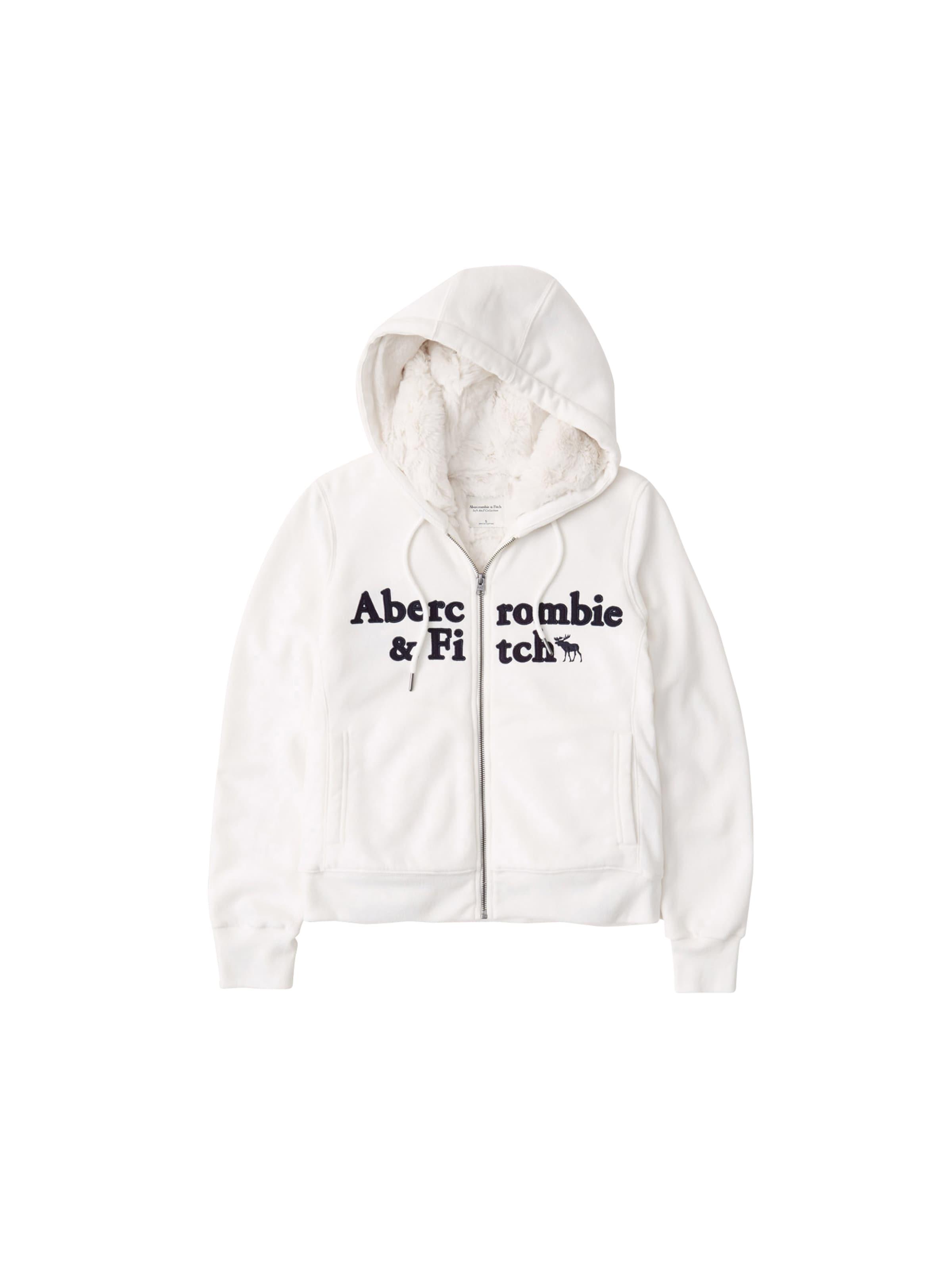 Abercrombie & Fitch Sweatjacka i svart / vit