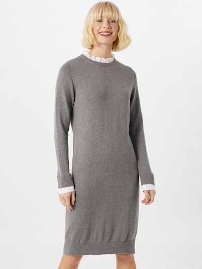 Megzta suknelė iš ESPRIT , spalva - pilka / balta, Modelio vaizdas