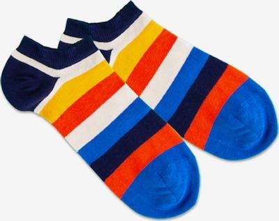 DillySocks Socken 'Multi Line' in blau / navy / gelb / hellrot / weiß, Produktansicht