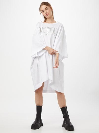 DIESEL Šaty 'EXTRA' - stříbrně šedá / bílá, Model/ka