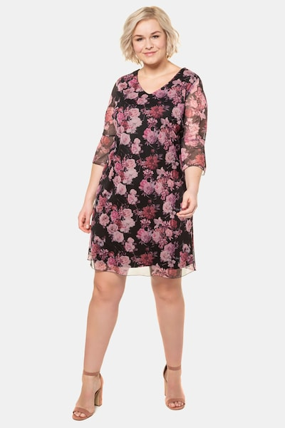 Ulla Popken Kleid in pink / schwarz: Frontalansicht