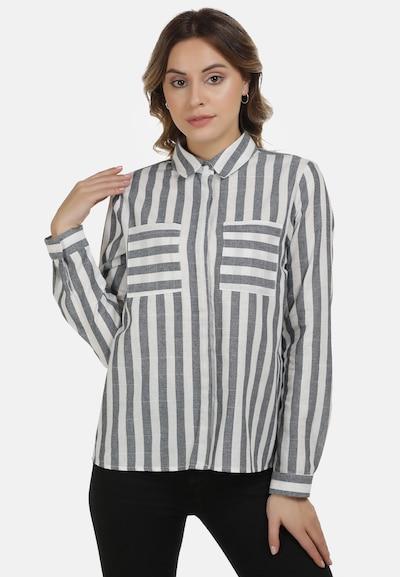 DreiMaster Vintage Bluse in dunkelgrau / weiß, Modelansicht