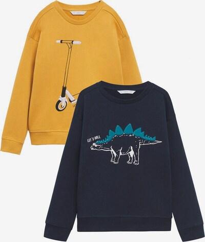 MANGO KIDS Sweatshirt 'playpack' i marinblå / ljusblå / gul / svart, Produktvy