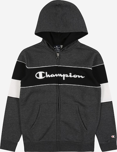 Champion Authentic Athletic Apparel Sweatjacke in dunkelgrau / schwarz / weiß, Produktansicht