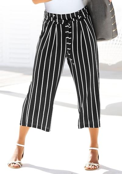 LASCANA Pleat-Front Pants in Black / White, View model