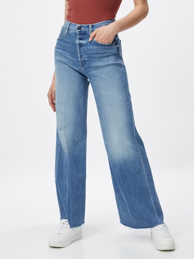 MOTHER Jeans 'THE TOMCAT ROLLER FRAY' in de kleur Blauw denim, Modelweergave