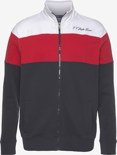 Tom Tailor Polo Team Sweatjacke in nachtblau / rot / weiß, Produktansicht