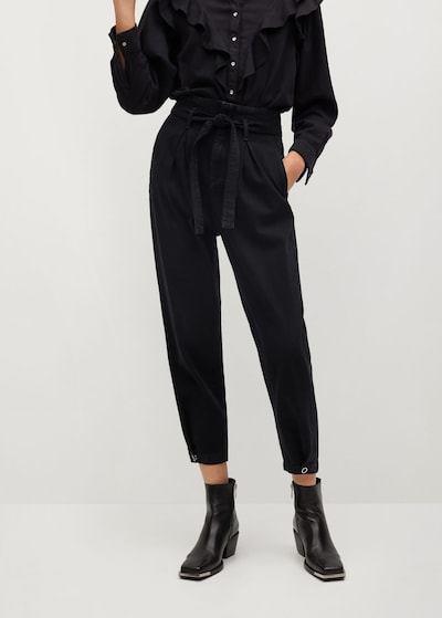 MANGO Pleated Jeans 'Snaps' in Black, View model