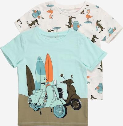 NAME IT Majica 'Johan' u svijetloplava / kaki / maslinasta / svijetlonarančasta / bijela, Pregled proizvoda