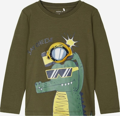 NAME IT Camiseta 'BOOM' en azul paloma / amarillo claro / caqui / verde oscuro / blanco, Vista del producto