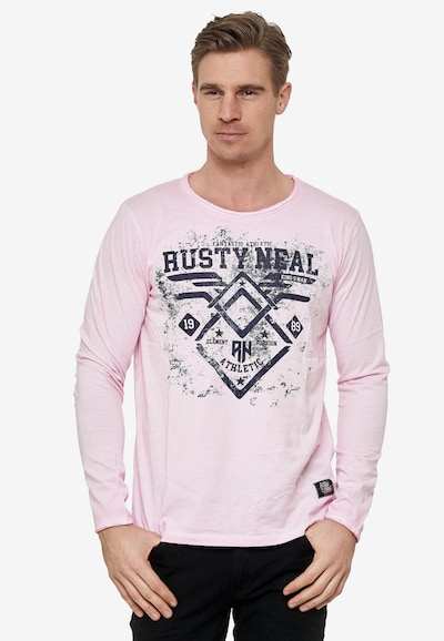 Rusty Neal Longsleeve mit großem Front-Print in rosé: Frontalansicht