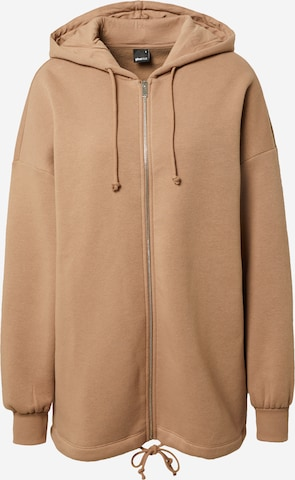 Gina Tricot Zip-Up Hoodie 'Felicia' in Brown
