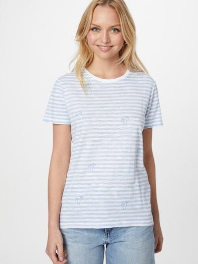 ONLY Тениска 'BONE LIFE' в опушено синьо / бяло: Изглед отпред