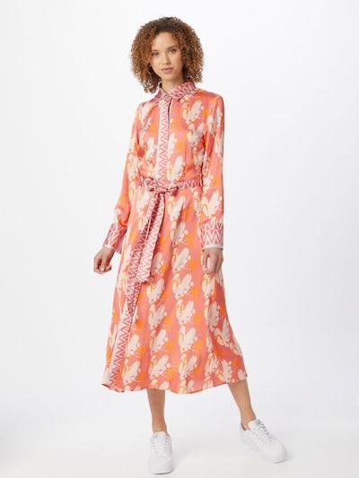 Rochie tip bluză 'Mina' DELICATELOVE pe bej / galben miere / portocaliu somon, Vizualizare model