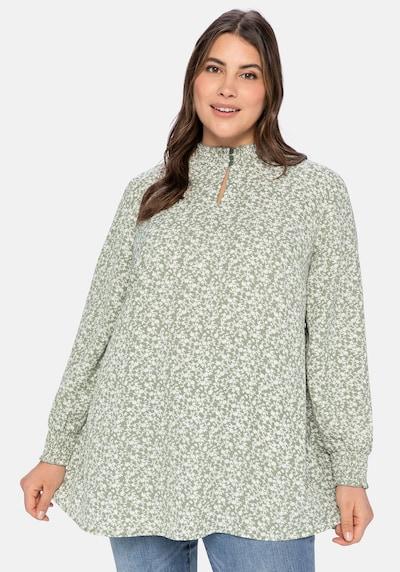SHEEGO Bluse in khaki / weiß, Modelansicht