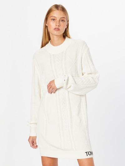 Tommy Jeans Pletené šaty - čierna / biela, Model/-ka