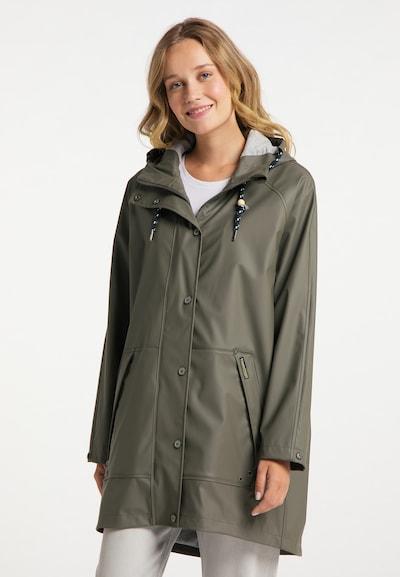 Schmuddelwedda Regenmantel in oliv, Modelansicht