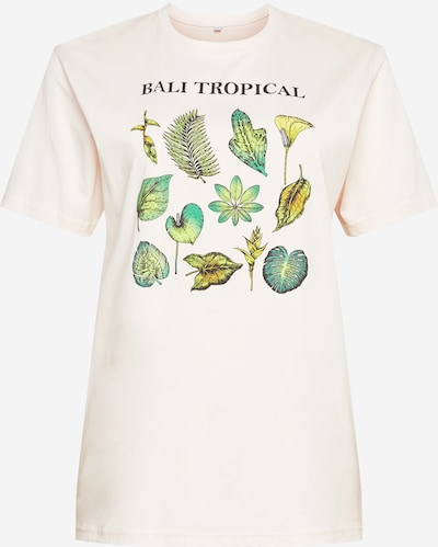 Mister Tee Curvy Shirt 'Bali Tropical' in de kleur Crème / Groen, Productweergave