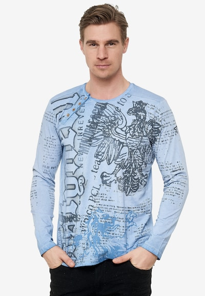 Rusty Neal Longsleeve mit coolem Front-Print in blau: Frontalansicht