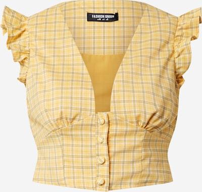 Fashion Union Bluse 'VELINO' in braun / gelb / weiß, Produktansicht