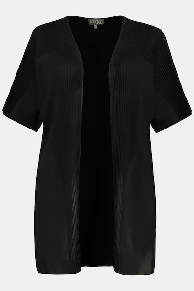 Ulla Popken Ulla Popken Damen große Größen Chasuble, Plissee-Details, offene Longform, selection 747605 in schwarz, Produktansicht