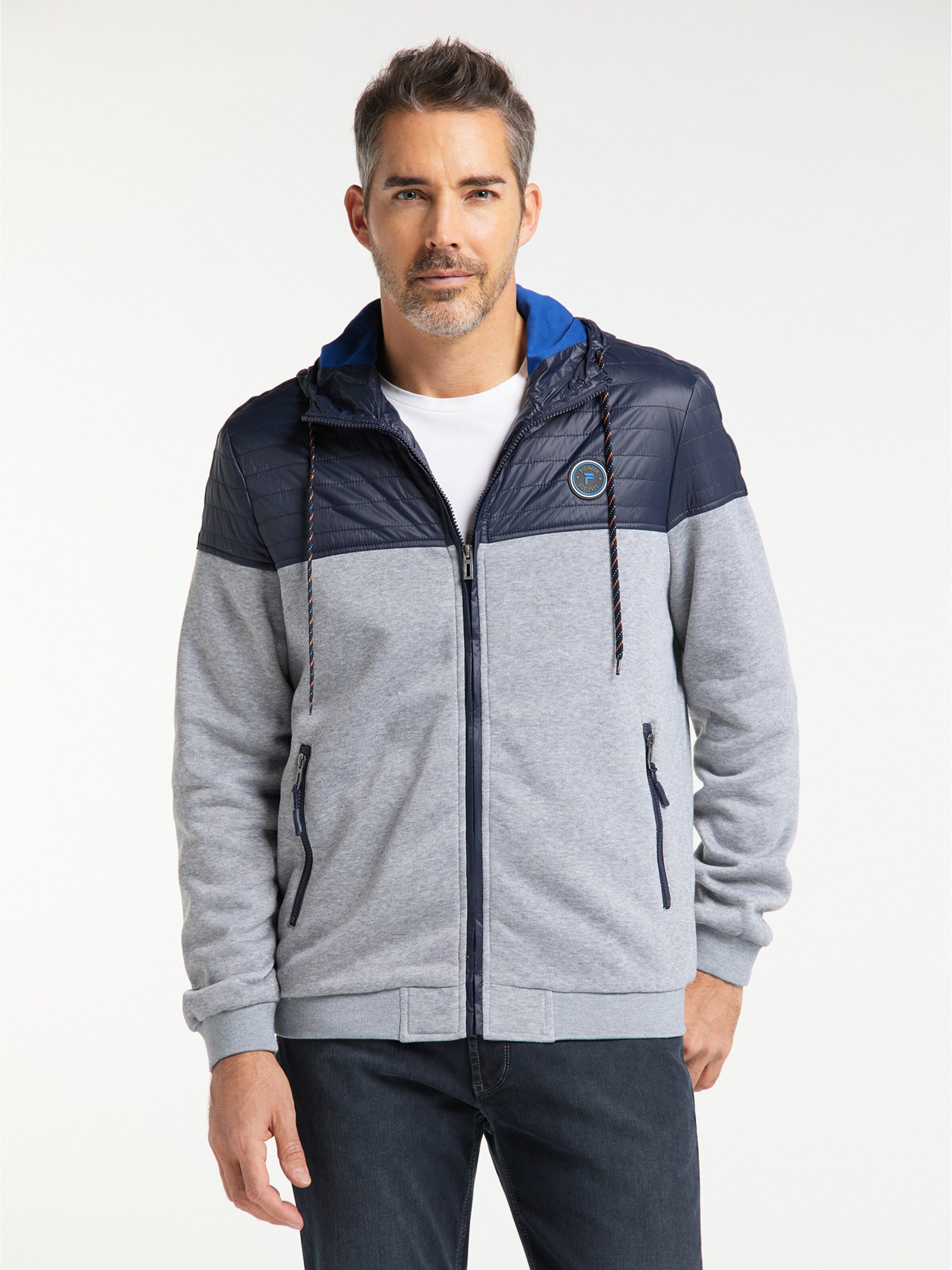 PIONEER Jacke in blau / graumeliert Mit Kapuze 04056/000/02493-587-3XL