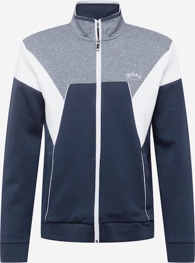 BOSS ATHLEISURE Tepláková bunda - námornícka modrá / modrá melírovaná / biela, Produkt