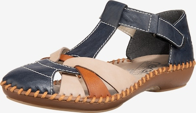 RIEKER Strap ballerina in Dusty blue / Light brown, Item view