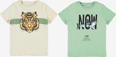 NAME IT T-Shirt 'Kaleb' in creme / taubenblau / hellgrün / hellorange / schwarz, Produktansicht