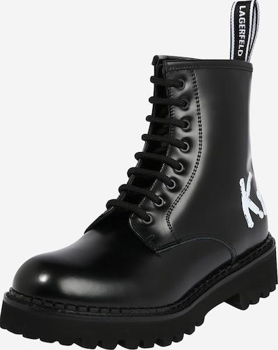 fekete / fehér Karl Lagerfeld Fűzős rövid szárú csizmák 'Troupe', Termék nézet