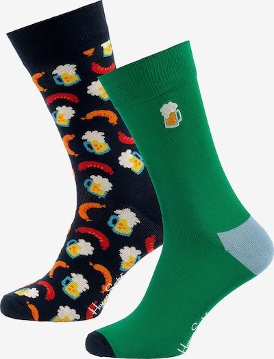 Happy Socks Chaussettes 'Beer' en bleu marine / vert / mélange de couleurs / rouge, Vue avec produit