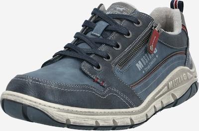 MUSTANG Chaussure de sport à lacets en bleu marine / bleu-gris / gris clair / rouge pastel, Vue avec produit