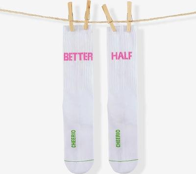 CHEERIO* Socken 'BETTER HALF' in pink / weiß: Frontalansicht