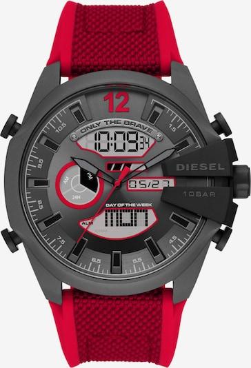 DIESEL Uhr in grau / silbergrau / rot / schwarz, Produktansicht