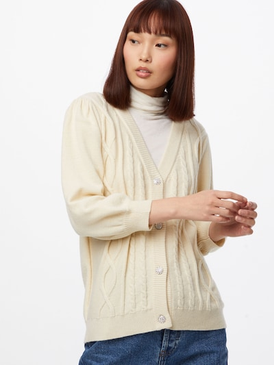 VILA Strickjacke in creme, Modelansicht