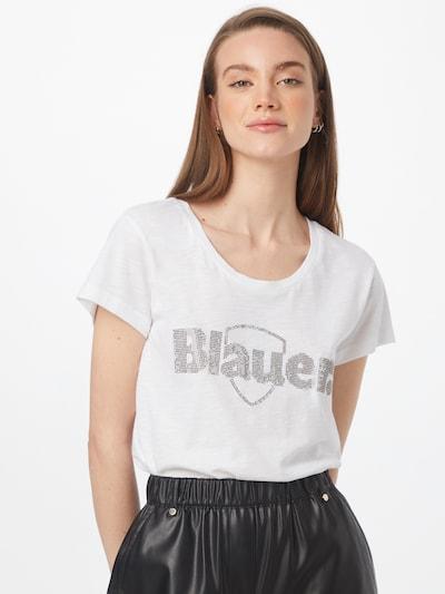 Blauer.USA Тениска 'MANICA' в сребърно / бяло: Изглед отпред