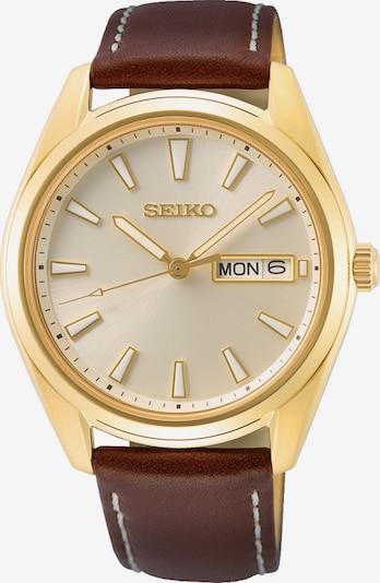 SEIKO Uhr in braun / gold / weiß, Produktansicht