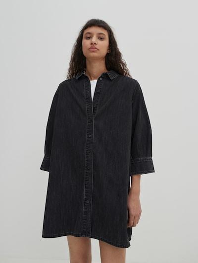 EDITED Robe-chemise 'Siena' en noir denim, Vue avec modèle