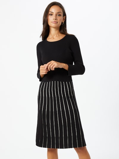 Esprit Collection Kleid 'Ecovero' in schwarz / weiß: Frontalansicht