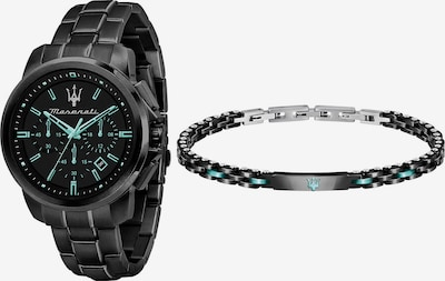 Maserati Set: Uhr und Armband in aqua / schwarz, Produktansicht