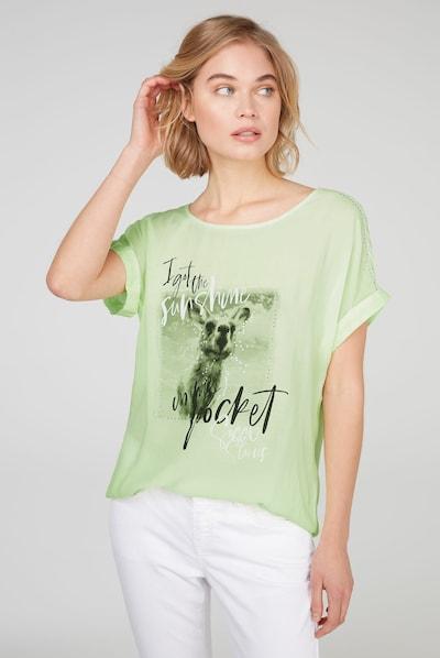 Soccx Blusenshirt mit Fotodruck und Glitzersteinen in neongrün, Modelansicht
