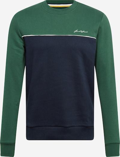JACK & JONES Sweat-shirt 'PIPE' en marine / vert gazon / blanc: Vue de face