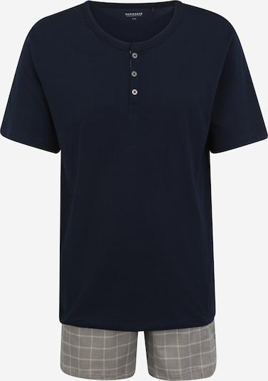 SCHIESSER Pyjama court en beige / bleu nuit / gris, Vue avec produit