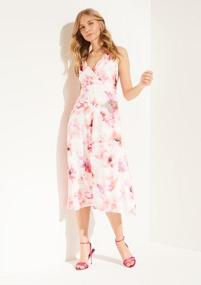 COMMA Kleid in rosa / rot / weiß: Frontalansicht