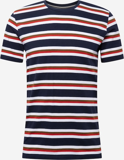 Marc O'Polo T-Shirt in dunkelblau / khaki / orangerot / weiß, Produktansicht