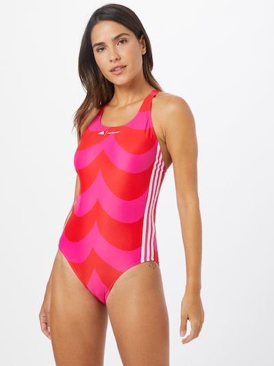 ADIDAS PERFORMANCE Maillot de bain sport en rose / rouge / blanc, Vue avec modèle
